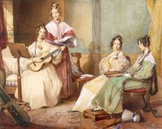 The Four Daughters of Archbishop Sumner, 1833 (w/c on paper), George Richmond, Private Collection