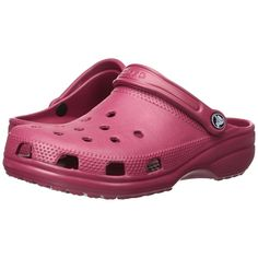 Crocs Classic (Cayman) - Unisex (Pomegranate) Clog Shoes (140 RON) ❤ liked on Polyvore featuring shoes, clogs, clog shoes, strappy shoes, sports footwear, unisex shoes and crocs clogs
