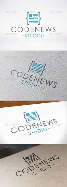 Code News Logo Template — Vector EPS #developer #web developer • Available here → https://graphicriver.net/item/code-news-logo-template/6912893?ref=pxcr