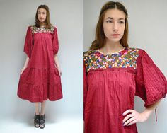 70s Mexican Dress  //  Oaxacan Embroidered Dress  //  LOS MOCHIS by VintageUrbanRenewal on Etsy