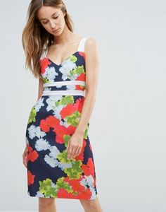 Vesper Floral Pencil Dress With Contrast Straps