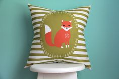 woodland fox pillow cover a little light prints by iviebaby, $45.00