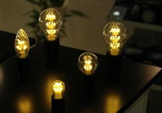 Warm looking LED lightbulbs  by Unison. These will look great in paired-down light fixtures.