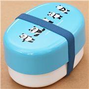 Boîte à bento laquée Prime Nakamura bleue et blanche Furi Furi avec des pandas