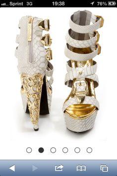 White snake skin platform heels