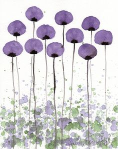 Buy 2 Get 1 FREE -- Watercolor Painting: Watercolor Flowers -- Art Print --  A Bit Shy -- Purple Flowers -- 8x10