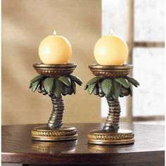 6 TROPICAL PALM TREE CANDLE HOLDER TABLE CENTERPIECES DECOR NEW~36006
