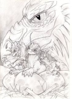 Baby dragons by VictoriaMorris on DeviantArt A mom and a baby dragon, being all cute. Realistic Drawings, Art Drawings Sketches, Colorful Drawings, Animal Drawings, Colouring Pages, Adult Coloring Pages, Coloring Book Pages, Baby Dragon Tattoos, Dragon Pictures