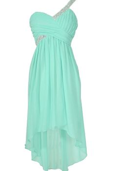 One Shoulder Sparkle Mint High Low Designer Dress