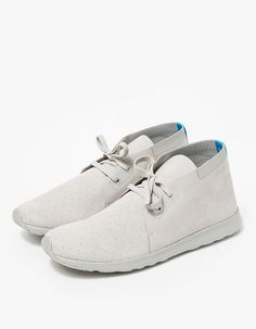 From Native Shoes, a lightweight hybrid sneaker-chukka with minimalist styling in Grey