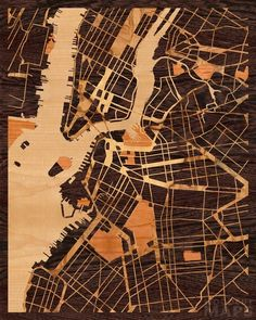 Glowing 16x20 Woodcut Map of Brooklyn, New York -- Crazy but gorgeous idea, using burls for the roads layer