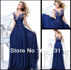 Big Discount 2013 New Arrival See Through Cap Sleeves Sequins Lace Navy Blue Long Prom Dresses Formal Evening Gowns TE 92130 $117.50