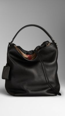 YES Medium Brit Check Leather Hobo Bag