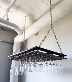 Custom Hanging Wine Glass Rack by mfwWorkshop on Etsy
