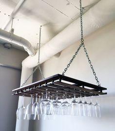 Custom Hanging Wine Glass Rack by mfwWorkshop on Etsy
