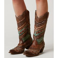 Corral Embroidered Cowboy Boot - Brown US 10 ($257) ❤ liked on Polyvore featuring shoes, boots, brown, brown leather boots, embroidered cowboy boots, brown cowboy boots, leather western boots and corral boots