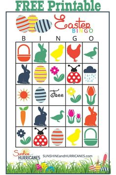 Looking for a fun Easter Game for a school Easter party or even just a family Easter celebration with lots of kids? This Free Printable Easter Bingo with it's bright colors and charming Easter designs is perfect for a little Easter fun! Easter Bingo. SunshineandHurricanes.com