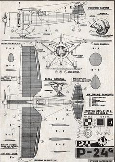 PZL P-24G, plany modelarskie. (Źródło: Modelarz nr 9/1960).