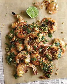 Grilled Shrimp with Cilantro, Lime, and Peanuts @TwinsNextDoor