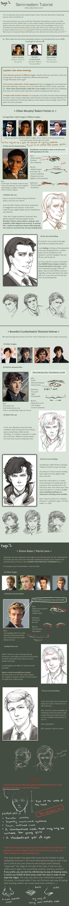 How to draw a semi-realistic face, facial features tutorial