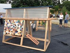 During Raise the Roost, Viteri Viteri Architecture used Formica® laminate samples to create this fun chicken coop. Chicken Tractors, Chicken Coops, Formica Laminate, Scrap Material, Outdoor Furniture Sets, Outdoor Decor, Building Materials, Reuse, Backyard