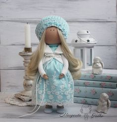 Art doll handmade pregnant turquoise white Collectable doll Decor doll Tilda doll Soft doll unique magic doll by Master Margarita Hilko