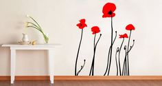 Bi color poppies vinyl graphic wall decal