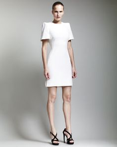B21QG Alexander McQueen Cape-Back Dress, Ivory