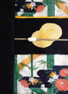 One day coordination ★ kimono: bamboo pattern tsumugi  /  obi: yellow tie-dye