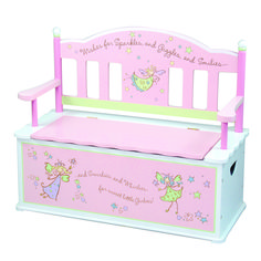 Fairy Wishes Dress Up Storage Chest-A dress up trunk that is really a beautiful bench seat with a fanciful fairy back. #DressUp #bench www.littledressupshop.com