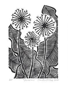 Linoleum block print illustrating a group of dandelions - Christine Moser - 2012