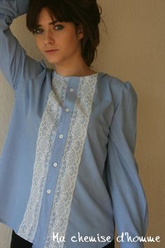 Summer sale 30% off - Recyled man's shirt blue blouse - old lace - US 8/10 EU…