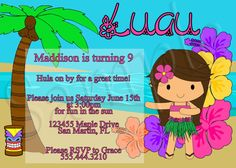 This item is unavailable Hawaiian Birthday, 2nd Birthday, Birthday Parties, Birthday Stuff, Luau Birthday Invitations, Party Invitations, Invites, Luau Theme, Luau Party