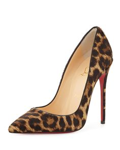 So Kate Calf Hair Red Sole Pump, Leopard/Black - Christian Louboutin