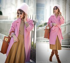 pink coat outfit, GalantGirl, Sophie Hulme,