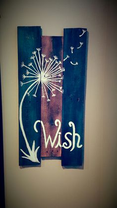 Wish Dandelion pallet sign