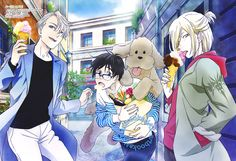Yuri!!! on Ice (ユーリ!!! on ICE)Candid shot of Victor, Yuuri and Yurio enjoying sweets and shopping in this blue-toned poster art from the latest Otomedia Magazine (Amazon Japan | eBay), illustrated by key animator Hiromi Maezawa (前澤弘美).