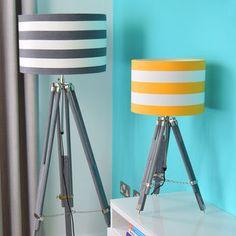 Grey Tripod Lamp Base With Choice Of Stripe Shade