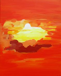 Abstract Wall Art ABSTRACT PAINTING Acrylic wall Decor Red Landscape Abstract Canvas, Modern Art, Orange, Sunset Abstract Painting