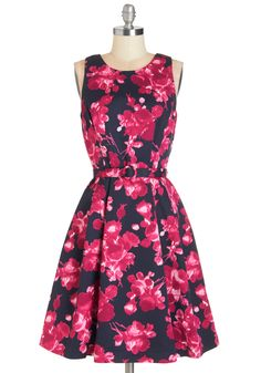 Elegance Abounds Dress. The glitter banner is hung, the punch fountain is pouring, and youre twirling around your party in this magenta floral frock!  #modcloth