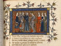 Parfait du Pain, BNF Fr. 12565, fol. 257, middle of the 14th century. Contrasting lining in hoods