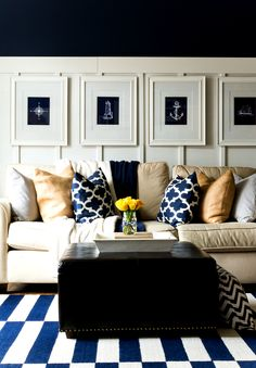 Spring Decor Ideas In Navy And Yellow Spring Decorating