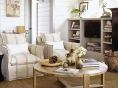 coastal living decor | Coastal style Living room decor of an Ultimate Beach House in Pacific ...