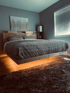 Bedroom Setup, Bedroom Bed Design, Room Ideas Bedroom, Home Bedroom, Modern Bedroom, Bedroom Decor, Bed Frame Plans, Bed Frame And Headboard, Diy Bed Frame
