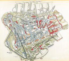 1967 Cosworth - Ford Formula 1 V8 engine cutaway illustration by Vic Berris