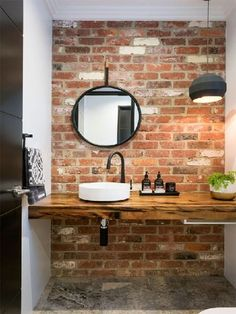 20 Masculine Bathroom Ideas With Exposed Brick Walls Bathroom Decor Ideas Bathroom Brick Exposed Ideas Masculine walls Small Bathroom Sinks, Small Sink, Exposed Brick Walls, Brick Tiles Bathroom, Brick Bathroom, Small Bathroom, Modern Bathroom, Bathroom Tile Designs, Bathroom Design