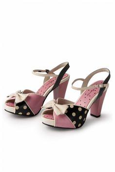 Lola Ramona - 50s Angie Bow Polka Dot Pink plateau sandal pumps