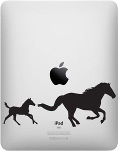 """iPAD - Horse Mom & Baby Foal - iPAD Tablet Vinyl Decal - © YYDC (3""""w x 1.25""""h) (Color Choices)"""
