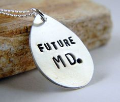 Handstamped Future MD Necklace Future Doctor by RosesDesigns, $28.00