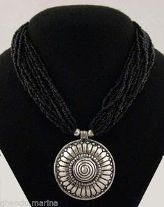 Tibetan Black Coral Silver Spiral Pendant Necklace - Dharma Objects